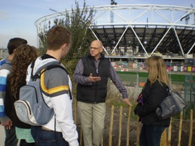 Visitors to the Olympic Park site